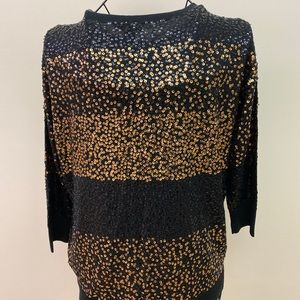 Donna Karen Sweater Top Gold Black Sequin Small
